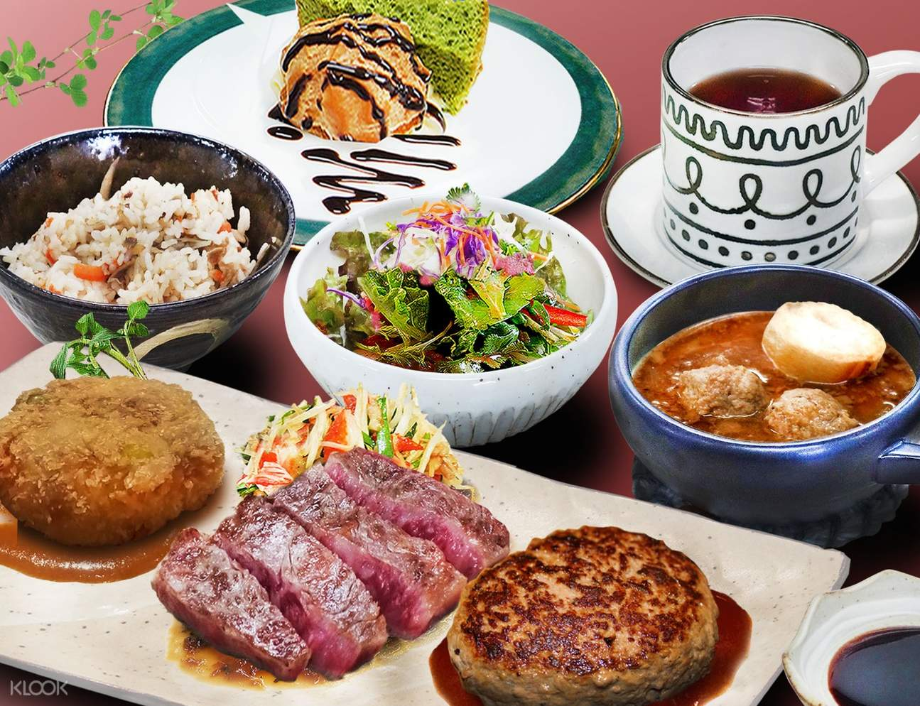 wagyu beef and other japanese dishes on plates