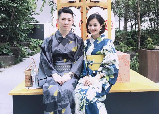 beautiful couple tourists in kimono