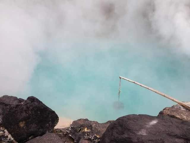 a fishing rod in a hot spring