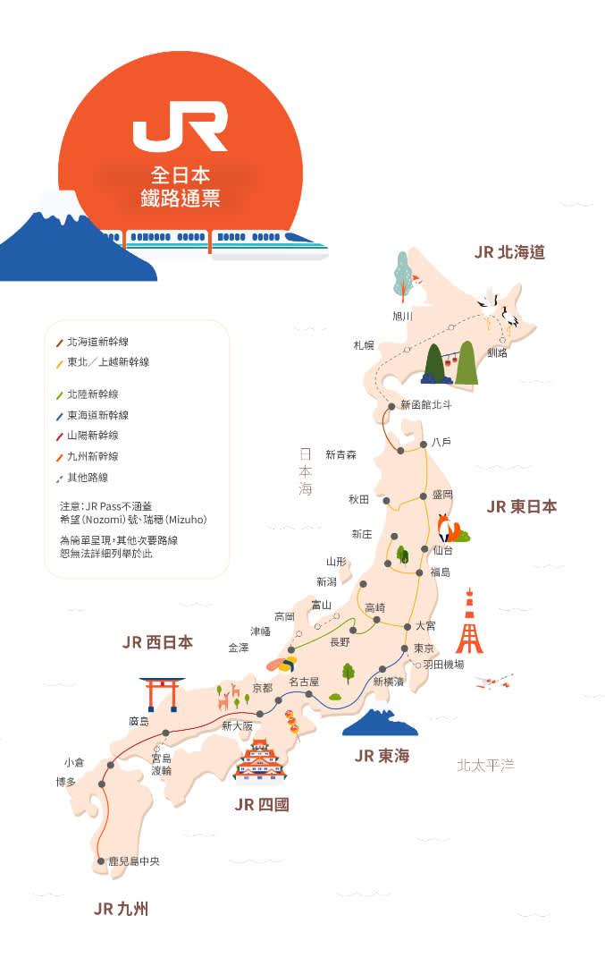 JR Pass全日本鐵路通票地圖