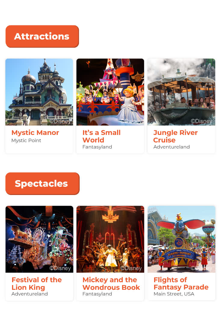 Hong kong Disneyland attractions and spectacles