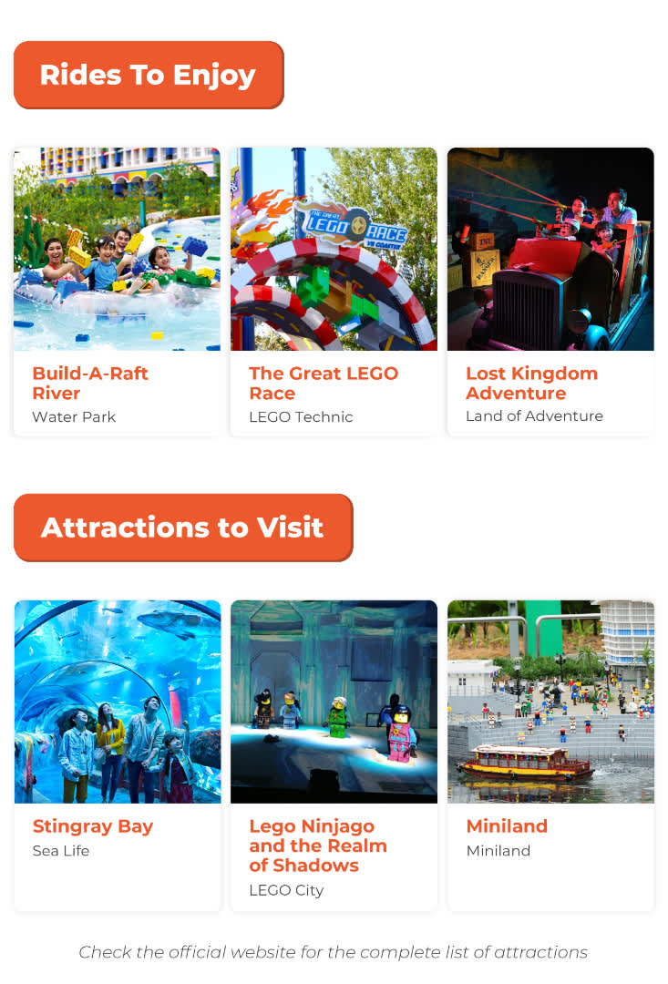 LEGOLAND Malaysia attractions and rides infographic