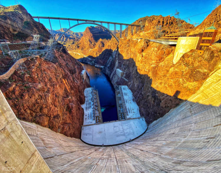 a view of Hoover Dam from the top of the Dam
