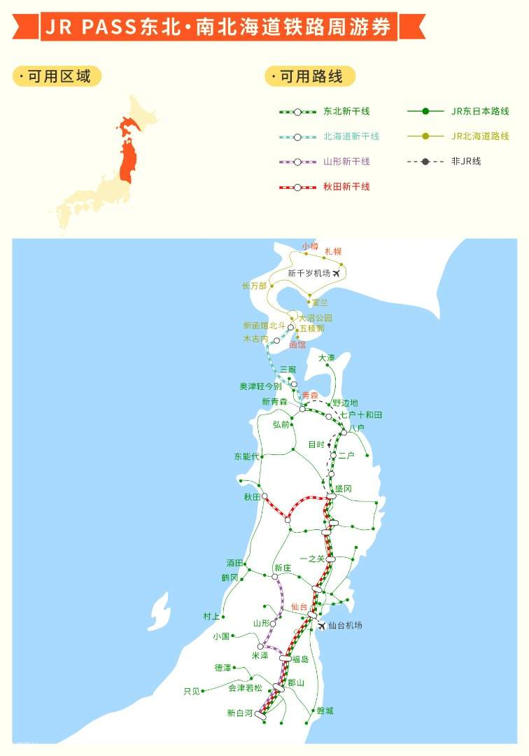 JR Pass东北・南北海道铁路周游券