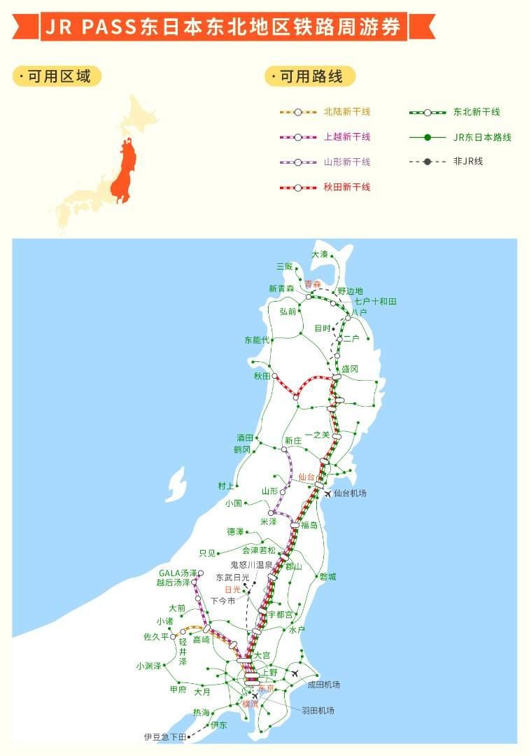 JR Pass 东日本东北地区铁路周游券