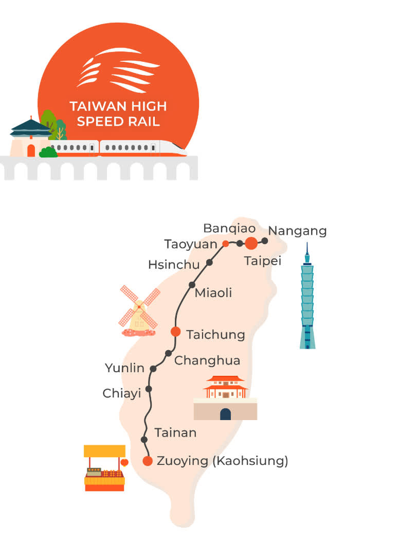 taiwan high speed rail map