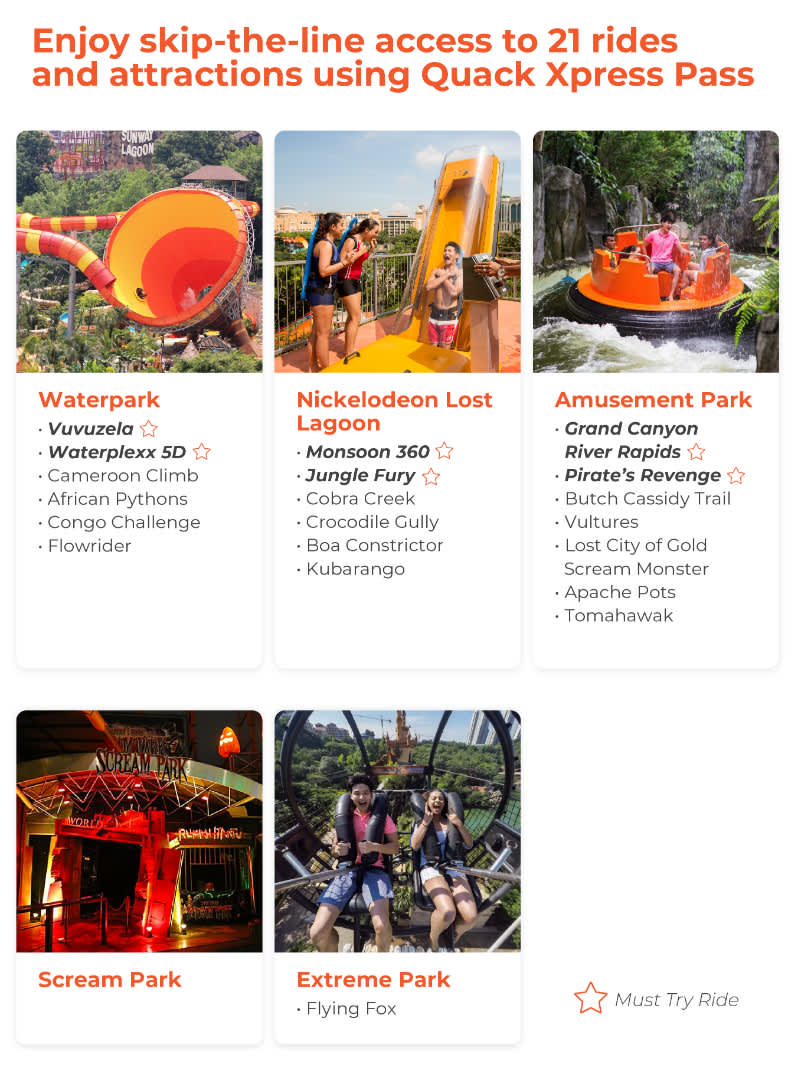 applicable rides for Quack Xpress Pass