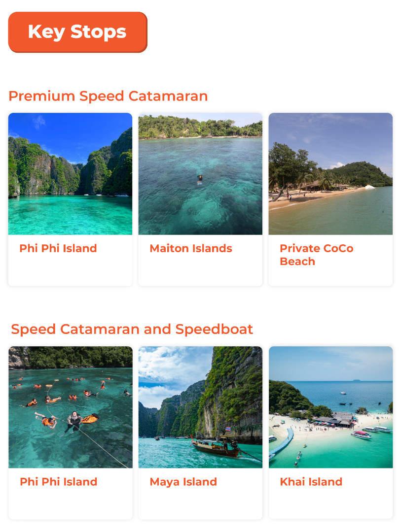 key stops for phi phi and khai island trip