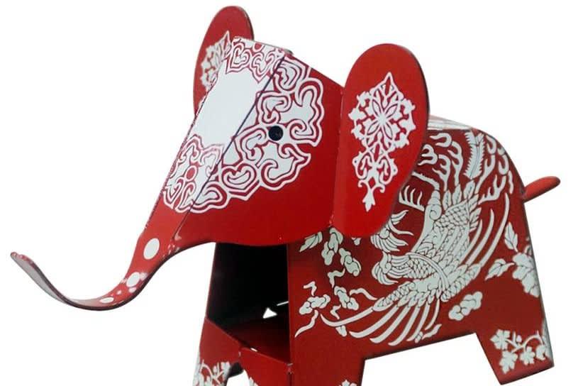 紅鳳款大象筆架