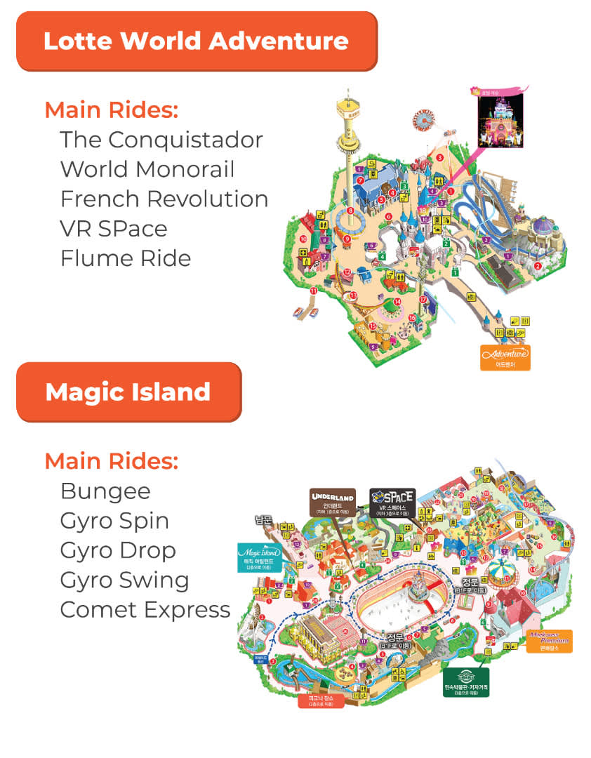 Lotte World Adventure and Magic Island map