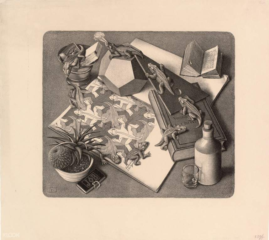 escher sketch of puzzles and lizards