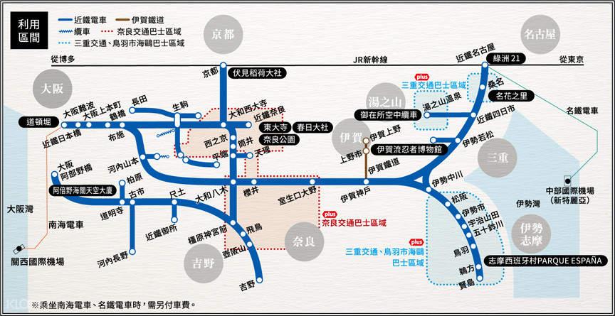 日本關西近鐵電車周遊券(1日/2日/5日)