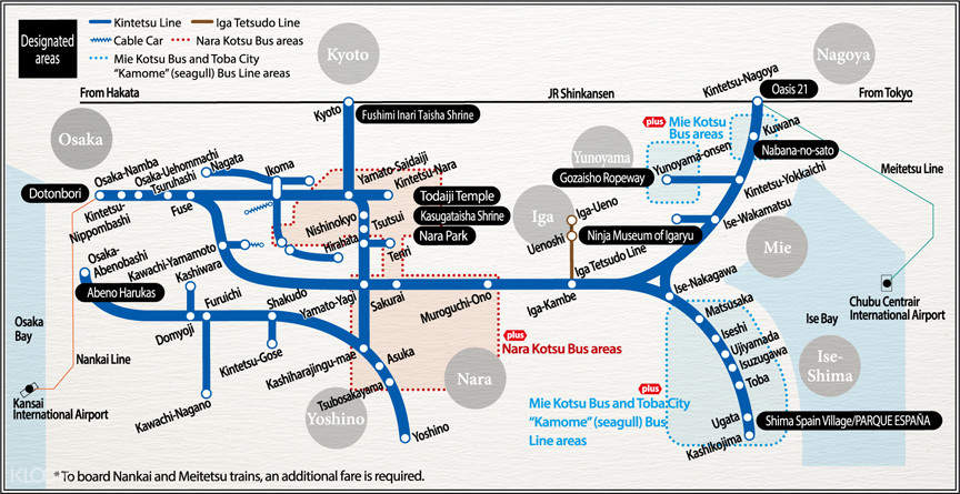 Kintetsu Rail Pass Service Area Map