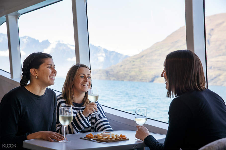 Enjoying a wine & cheese board on Spirit of Queenstown Scenic Cruise