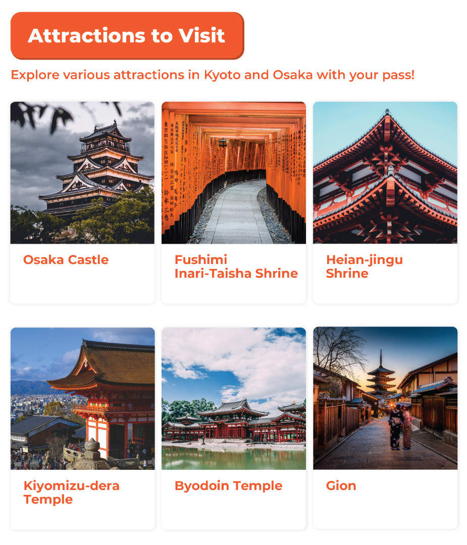 kyoto-osaka pass key attractions to visit