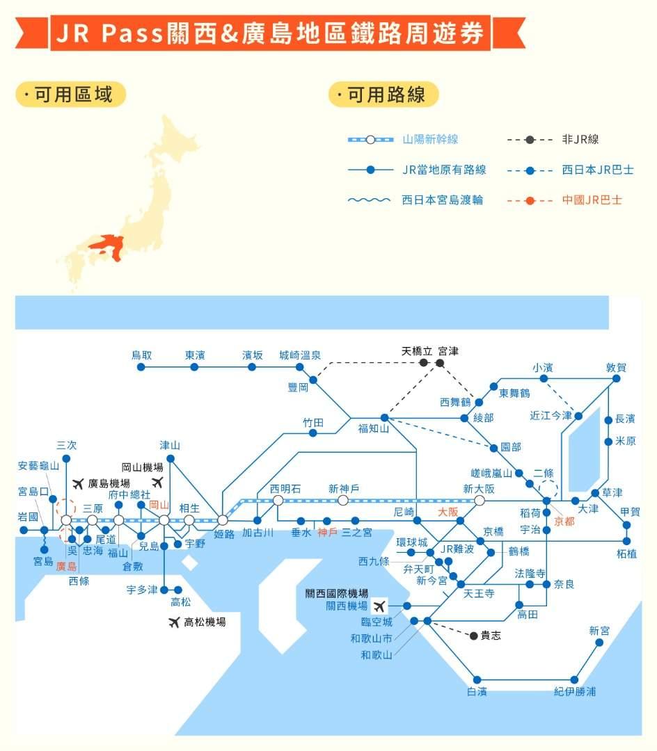 JR Pass 關西&廣島地區鐵路周遊券
