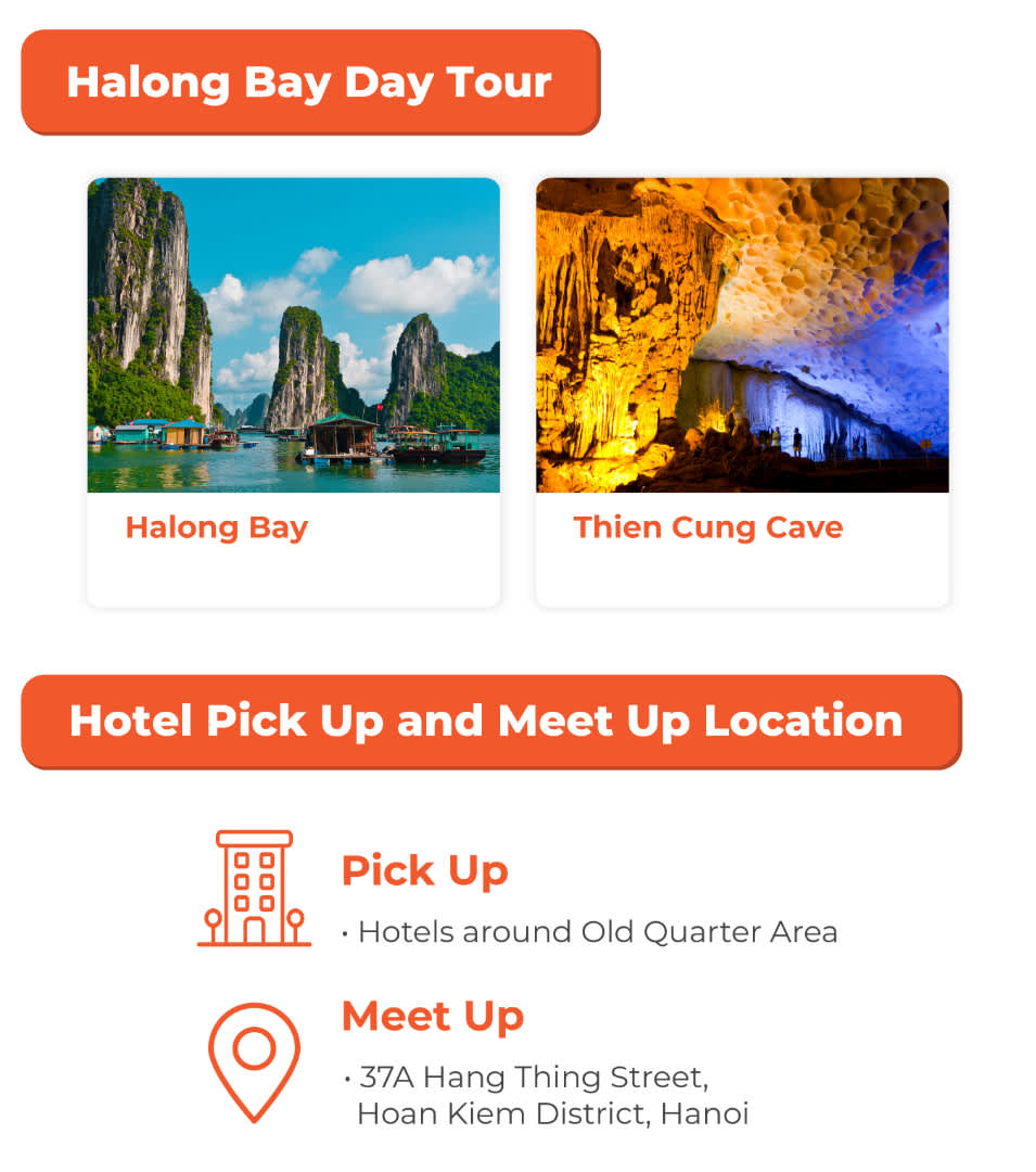halong bay day tour key stops and meet up location