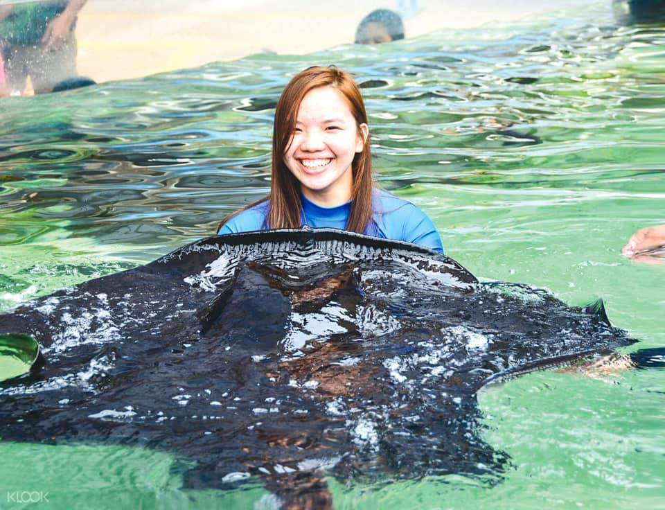 a girl holding a manta ray
