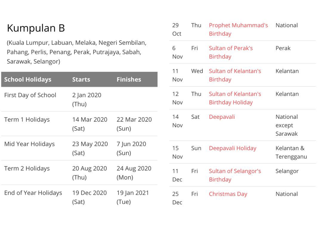 Schedule of Public Holidays in Malaysia