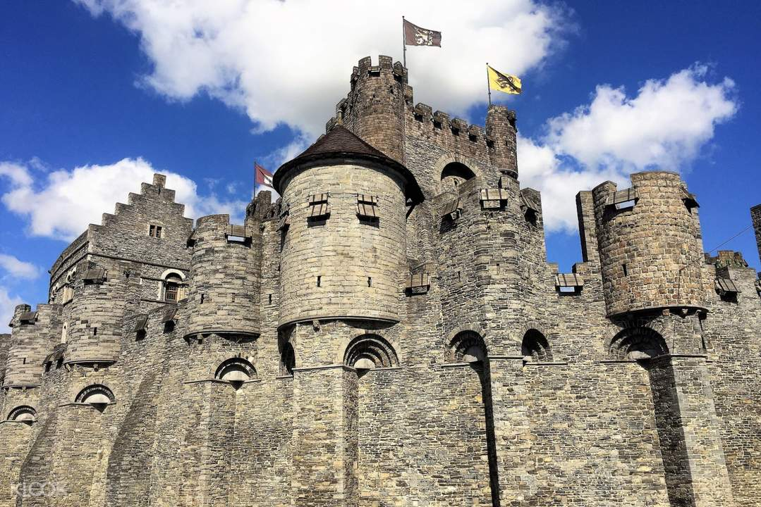 view of the gravensteen castle in ghent