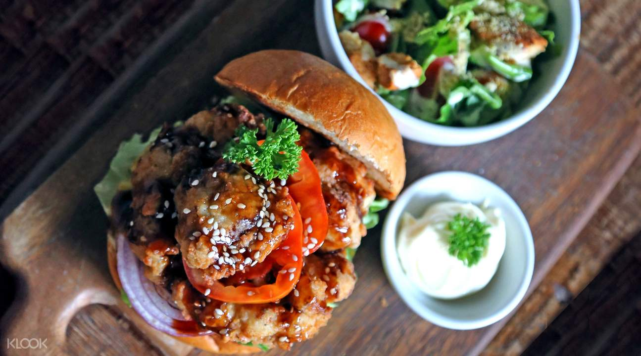 Teriyaki Chicken Burger at Veganerie in Phorm Phong, Silom Complex, and Mercury Ville