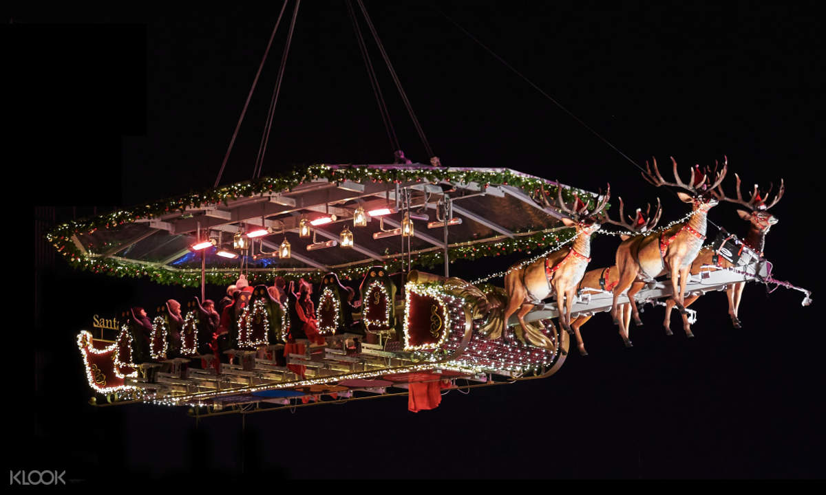 reindeer santa in the sky