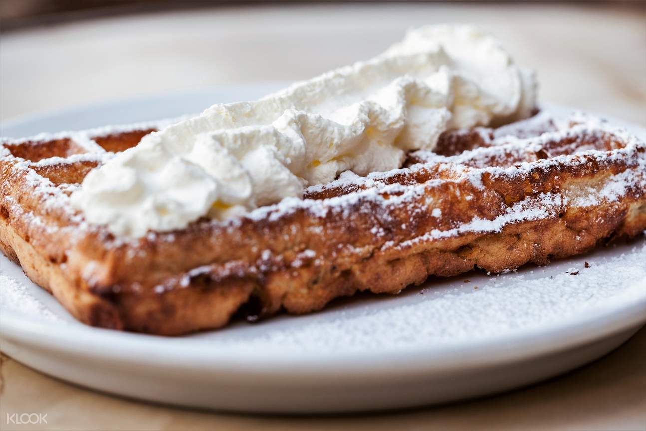 belgium waffle with whipped cream in brussels