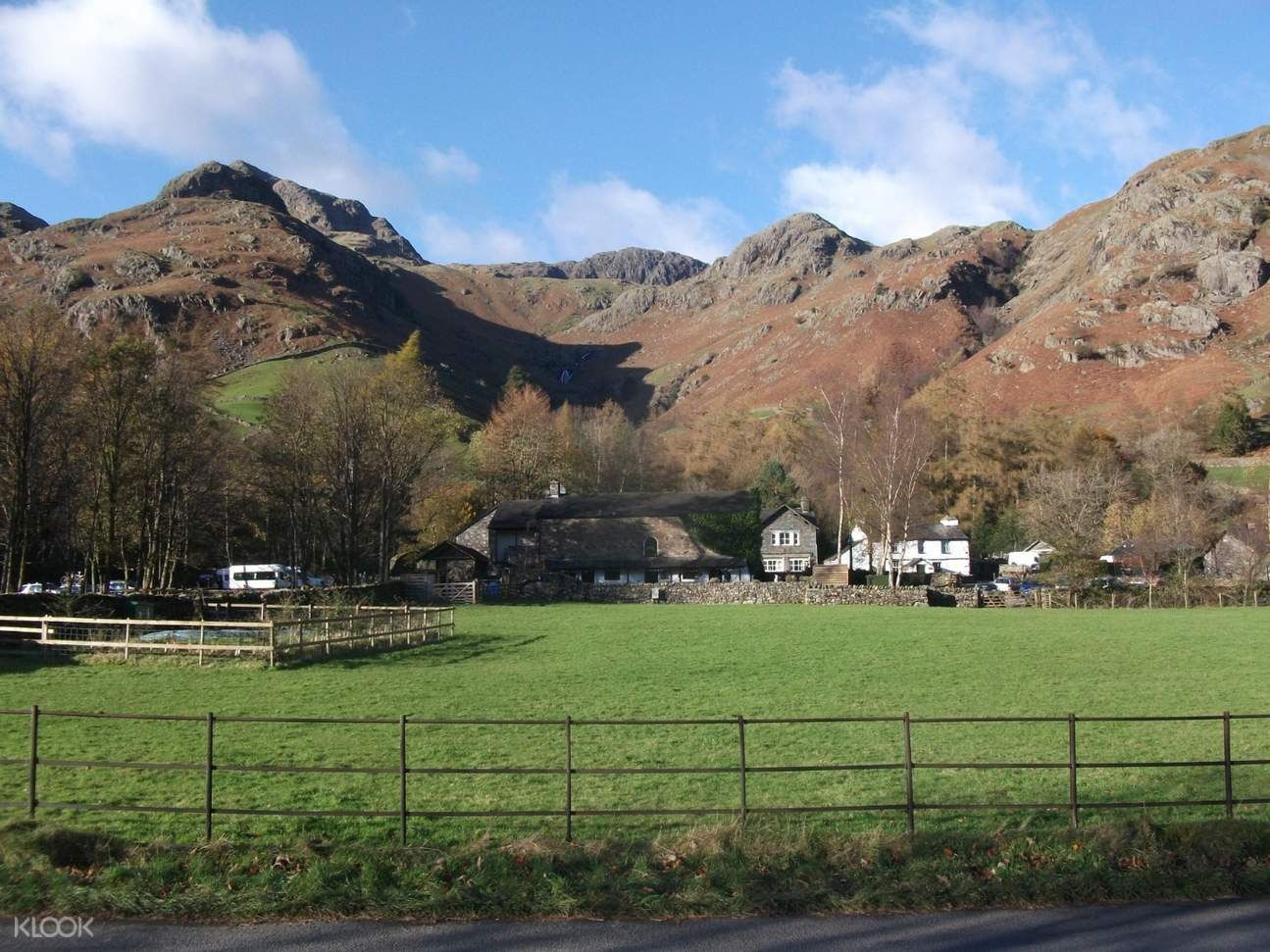 view of langdale pikes and grass underneath