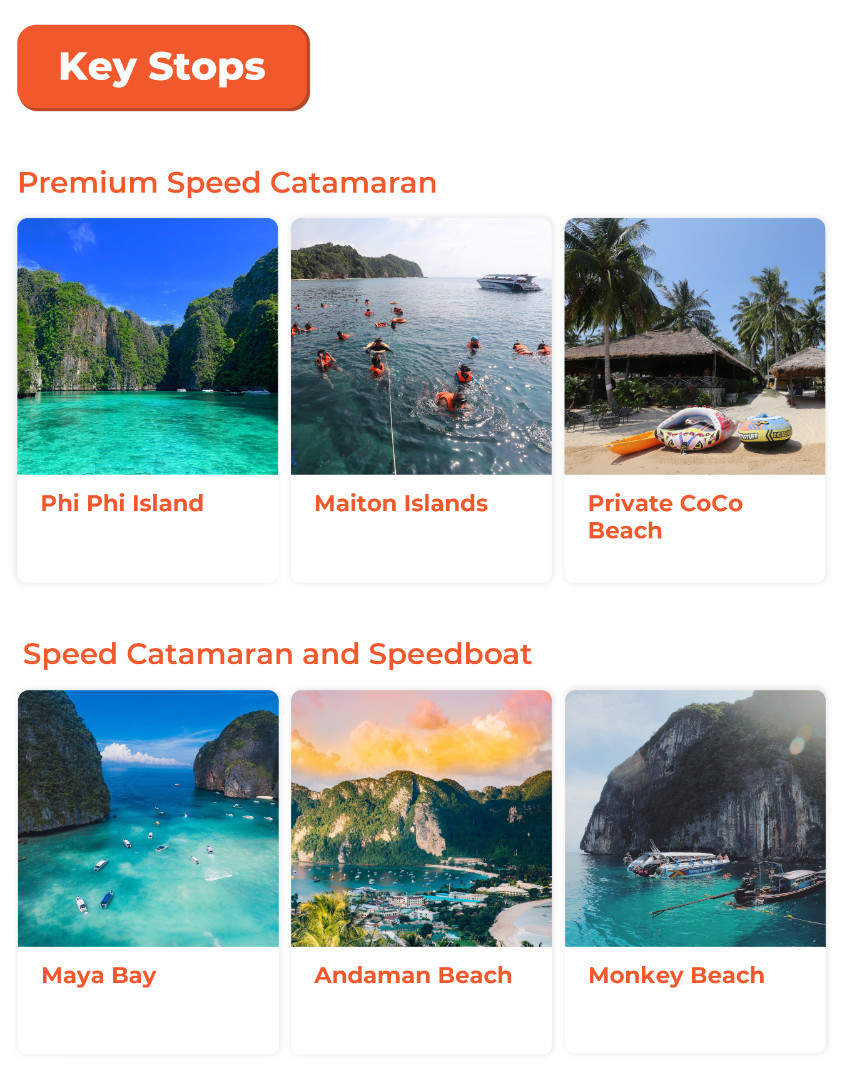 key stops during the tour in phi phi island and maya bay