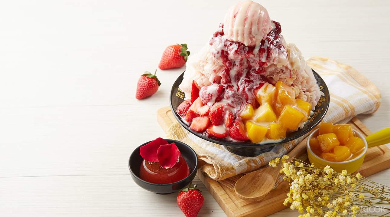 嚐一口清新甜蜜的玫瑰草莓荔枝雪花冰,想入非非的美好滋味讓人流連