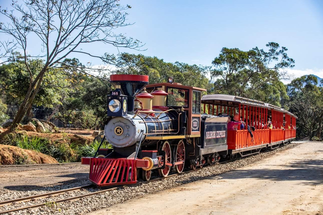 搭上蒸氣火車,輕鬆悠遊園區每個角落