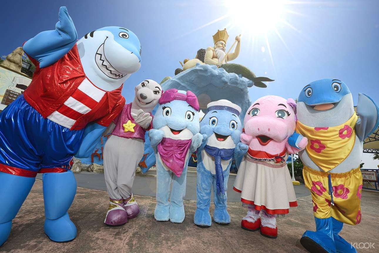 來到花蓮海洋公園,別錯過可愛的吉祥物玩偶 Andy、Zoe、Shonky 和 Melody!